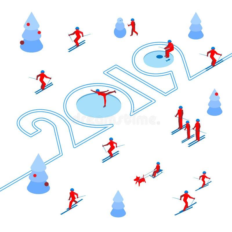 Nieuwjaar 2019 concept - sport in het bos vector illustratie