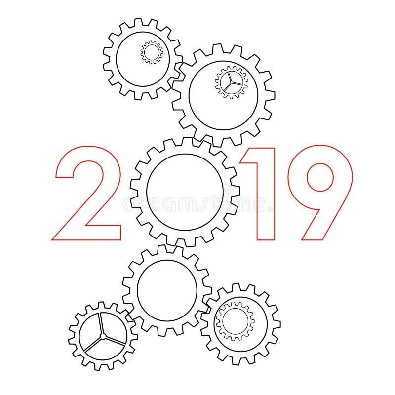 Nieuwjaar 2019 concept - toestellen royalty-vrije illustratie