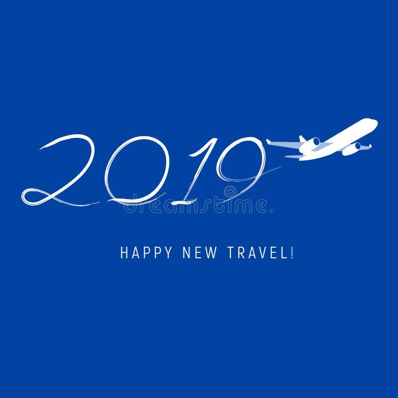 Nieuwjaar 2019 concept - vlucht stock illustratie