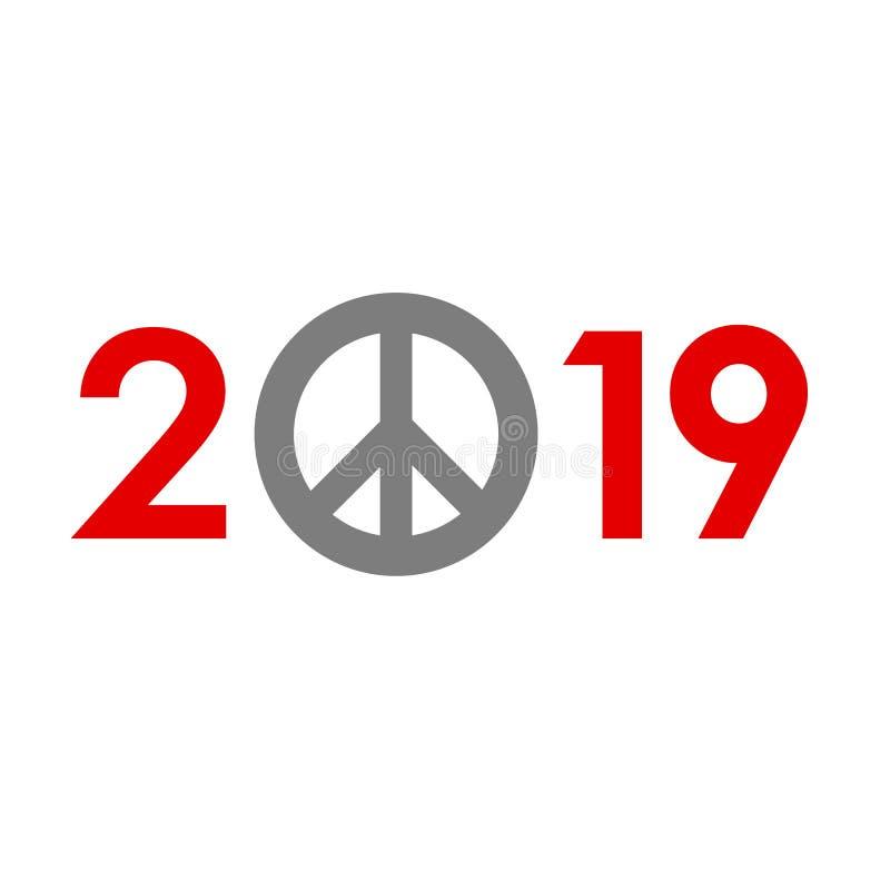 Nieuwjaar 2019 concept - vredesteken stock illustratie