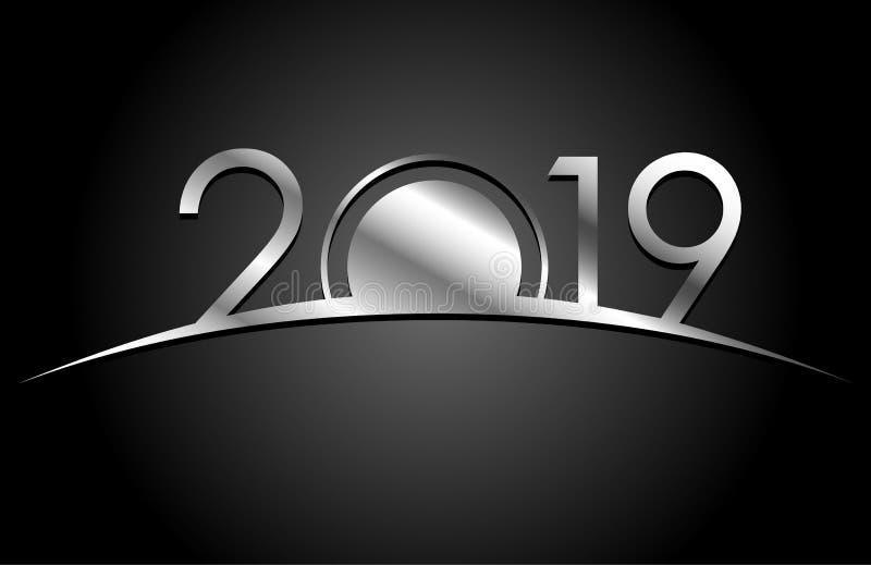 Nieuwjaar 2018 concept - zilveren teken stock illustratie