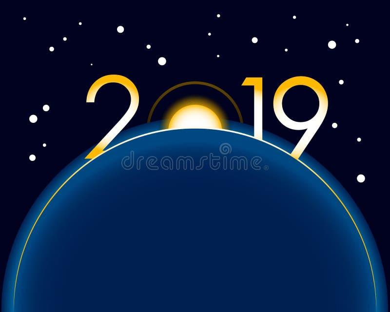 Nieuwjaar 2019 concept - zonsopgang vector illustratie