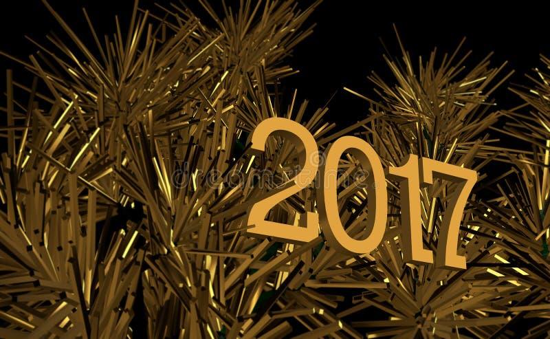 Nieuwjaar, Creatief Beeld, Gouden grafische Kerstboom royalty-vrije illustratie