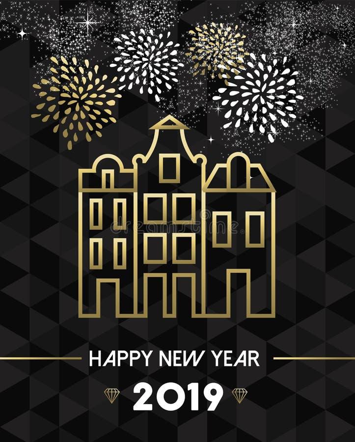 Nieuwjaar 2019 de reisgoud van Amsterdam Nederland royalty-vrije illustratie
