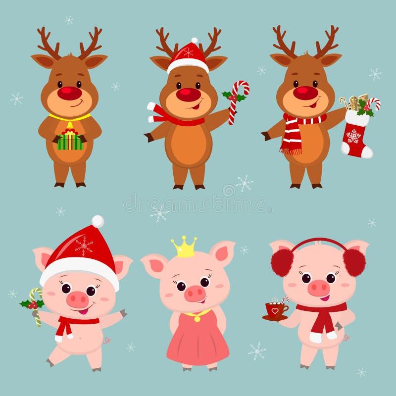 Nieuwjaar en Kerstkaart Een reeks van drie herten en drie varkenskarakters in verschillende hoeden en kostuums in de winter Doos royalty-vrije illustratie