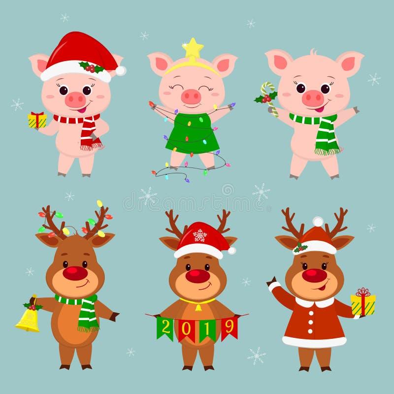 Nieuwjaar en Kerstkaart Een reeks van drie herten en drie varkenskarakters in verschillende hoeden en kostuums in de winter Gift royalty-vrije illustratie