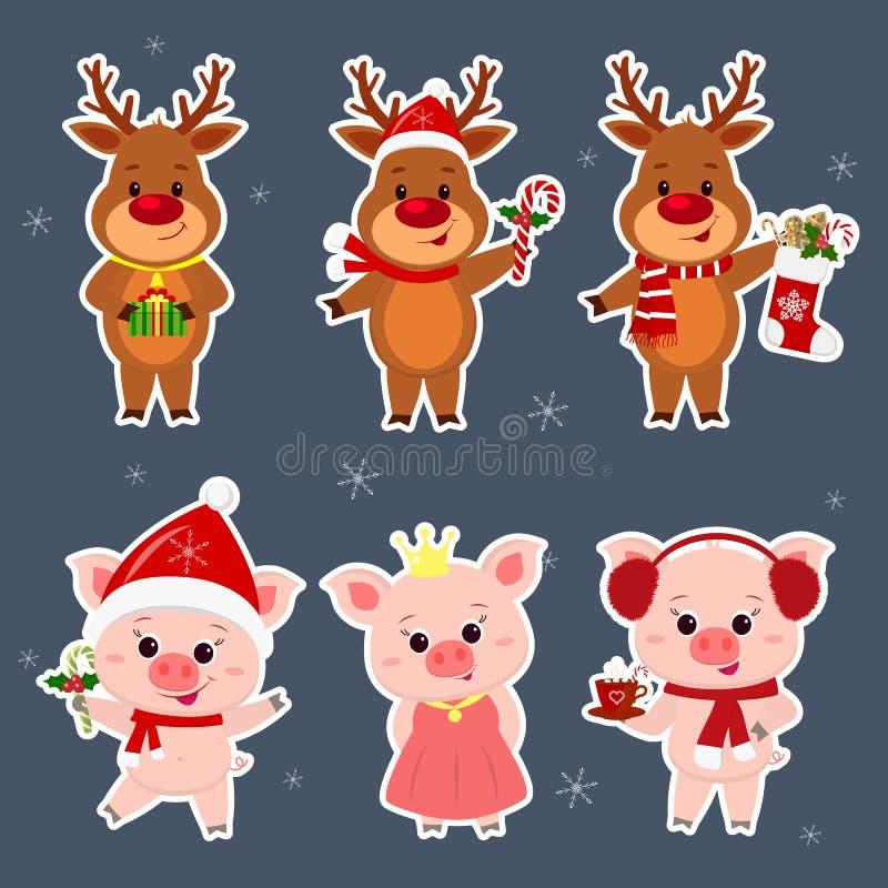 Nieuwjaar en Kerstkaart Een vastgestelde sticker van drie herten en drie varkenskarakters in verschillende hoeden en kostuums bin vector illustratie