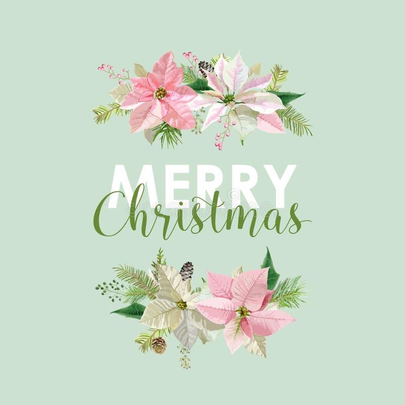 Nieuwjaar en Kerstkaart - Uitstekende Bloemenpoinsettia royalty-vrije illustratie