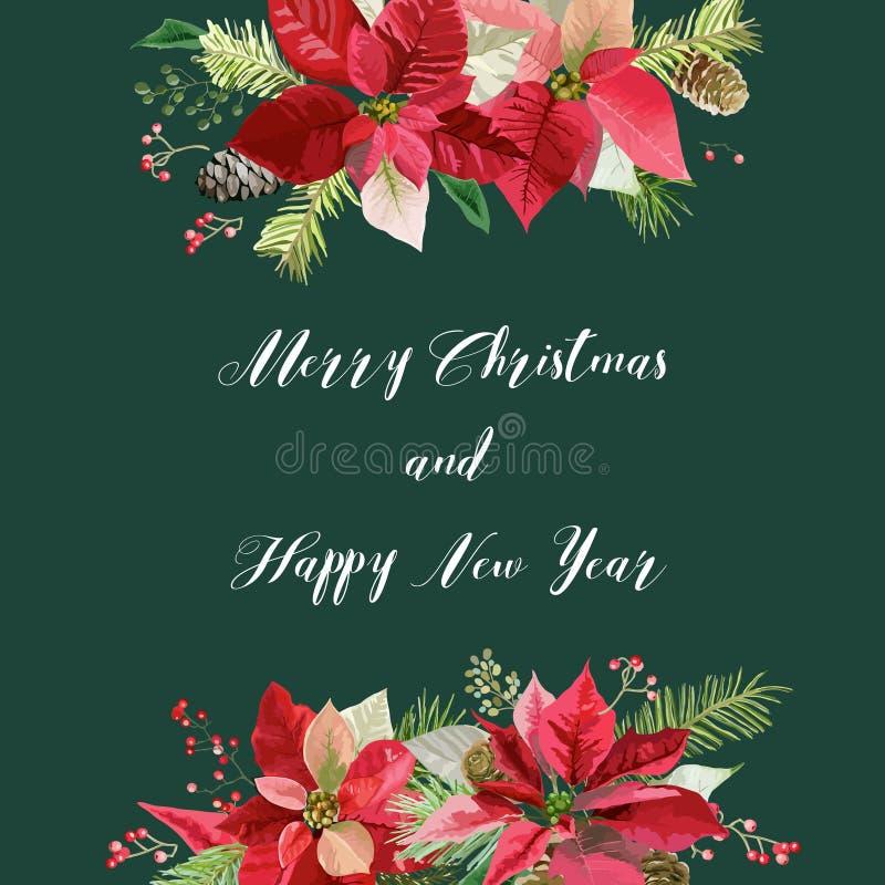 Nieuwjaar en Kerstkaart - Uitstekende Bloemenpoinsettia stock illustratie