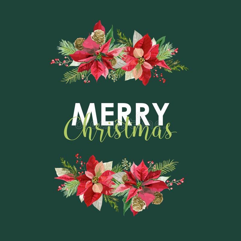 Nieuwjaar en Kerstkaart - Uitstekende Bloemenpoinsettia vector illustratie