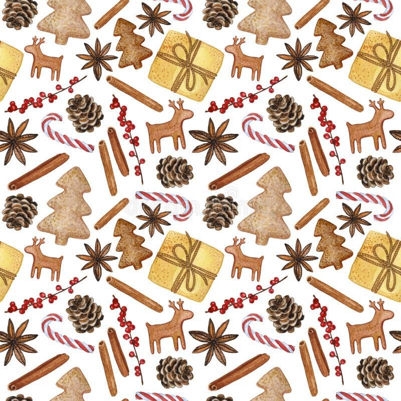 Nieuwjaar en Kerstmis Decoratieve Elementen - Hand-drawn Illustratie van Watercolour, Naadloos Patroon vector illustratie