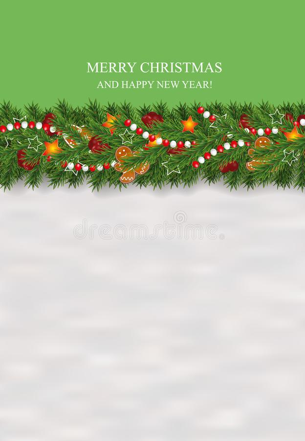 Nieuwjaar en Kerstmis verfraaide de sneeuwachtergrond slinger en grens van realistische die het kijken Kerstboomtakken worden ver vector illustratie