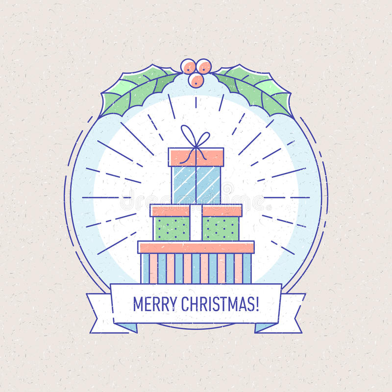 Nieuwjaar en Kerstmiskenteken met giftdozen royalty-vrije illustratie