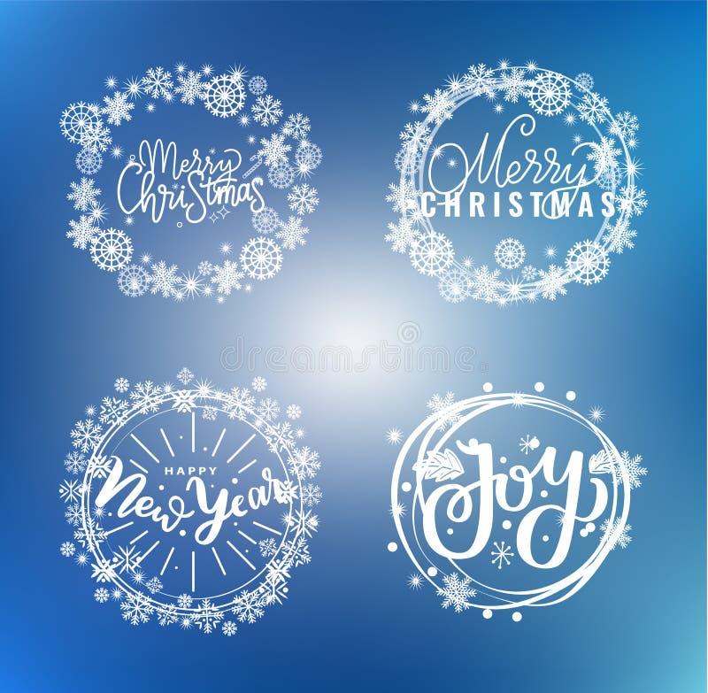 Nieuwjaar, Gelukkige Vakantie Warme Wensen Santa Cookies royalty-vrije illustratie