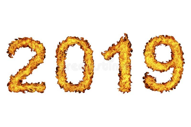 Nieuwjaar 2019 gemaakt van brandvlam stock illustratie