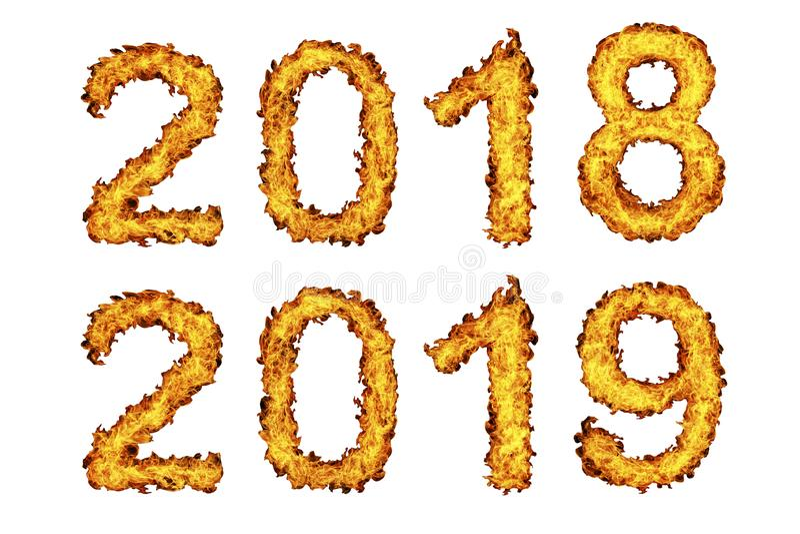 Nieuwjaar 2018 - 2019 gemaakt van brandvlam royalty-vrije illustratie