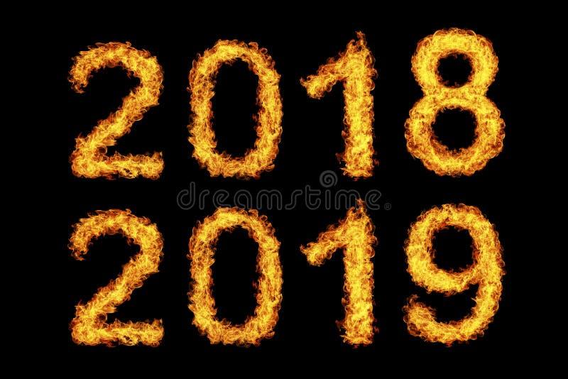 Nieuwjaar 2018 - 2019 gemaakt van brandvlam stock fotografie
