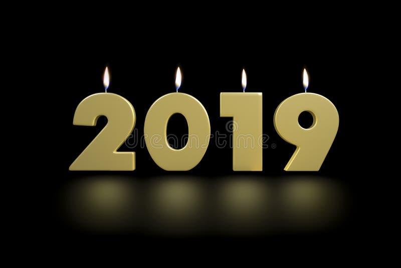 2019 Nieuwjaar Gouden verlicht omhoog Kaarsen stock afbeelding