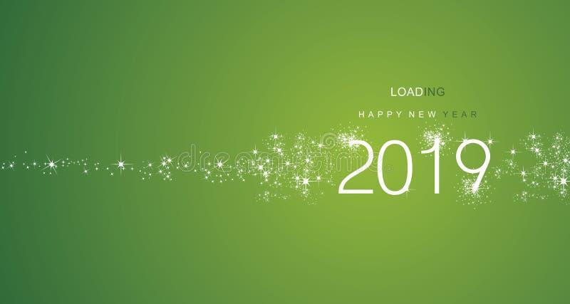Nieuwjaar 2019 groeten die vector van de vuurwerk de witte groene kleur laden royalty-vrije illustratie