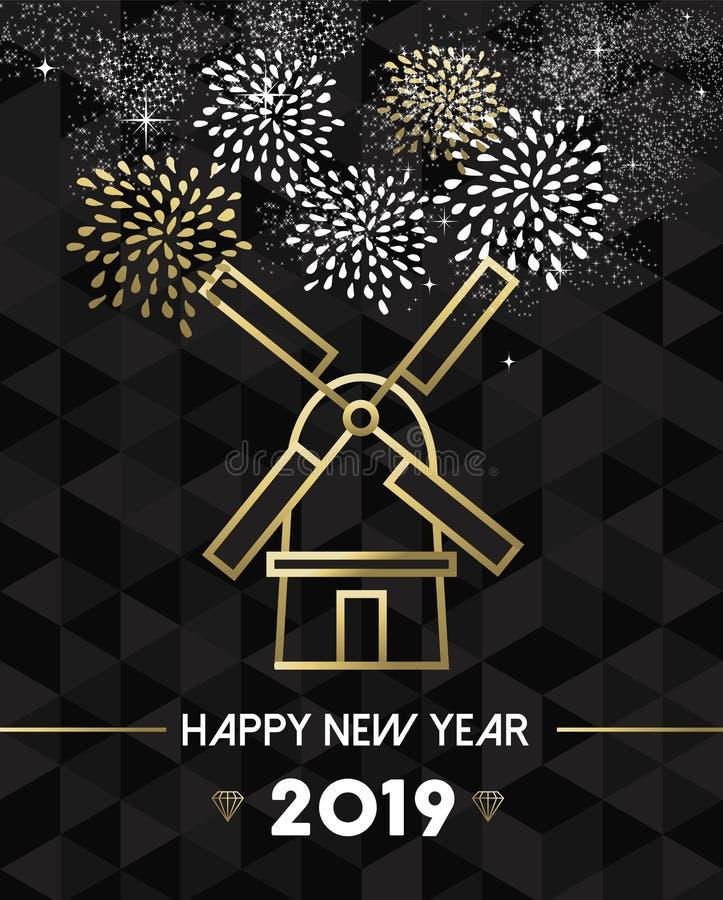 Nieuwjaar 2019 het goud van de de windmolenreis van Nederland stock illustratie