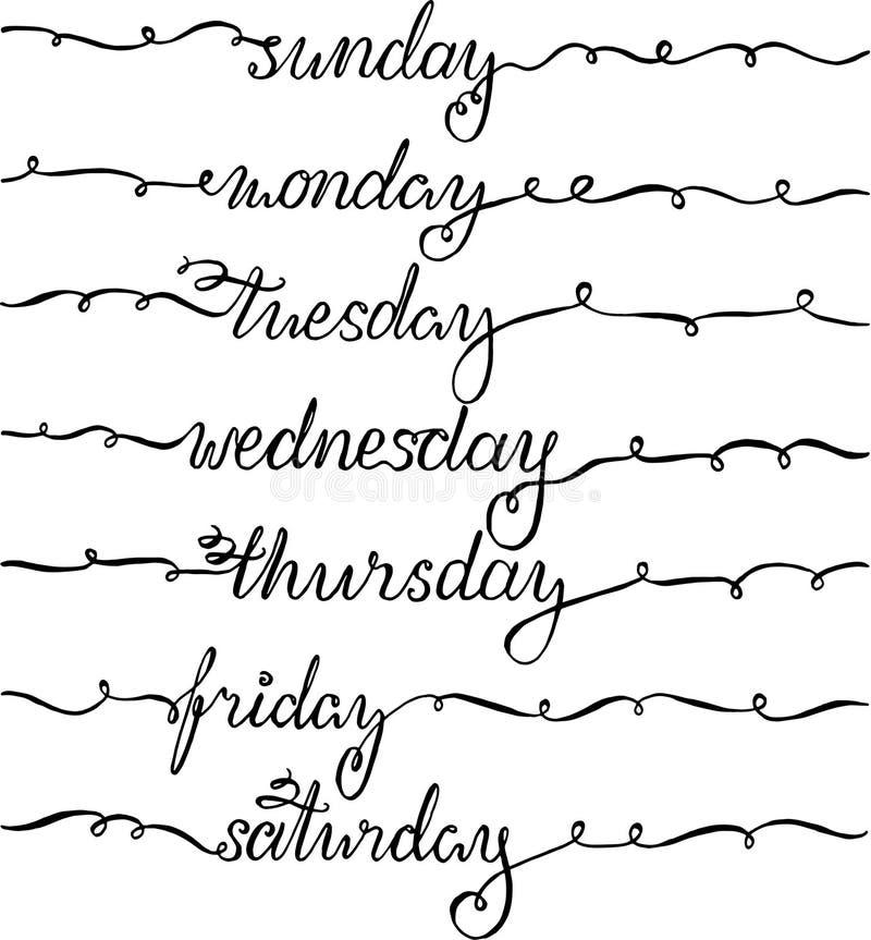 Nieuwjaar het Van letters voorzien voor Kalender, Ontwerper of Organisator - Alle die Weekdagen met Swashes worden verfraaid stock illustratie