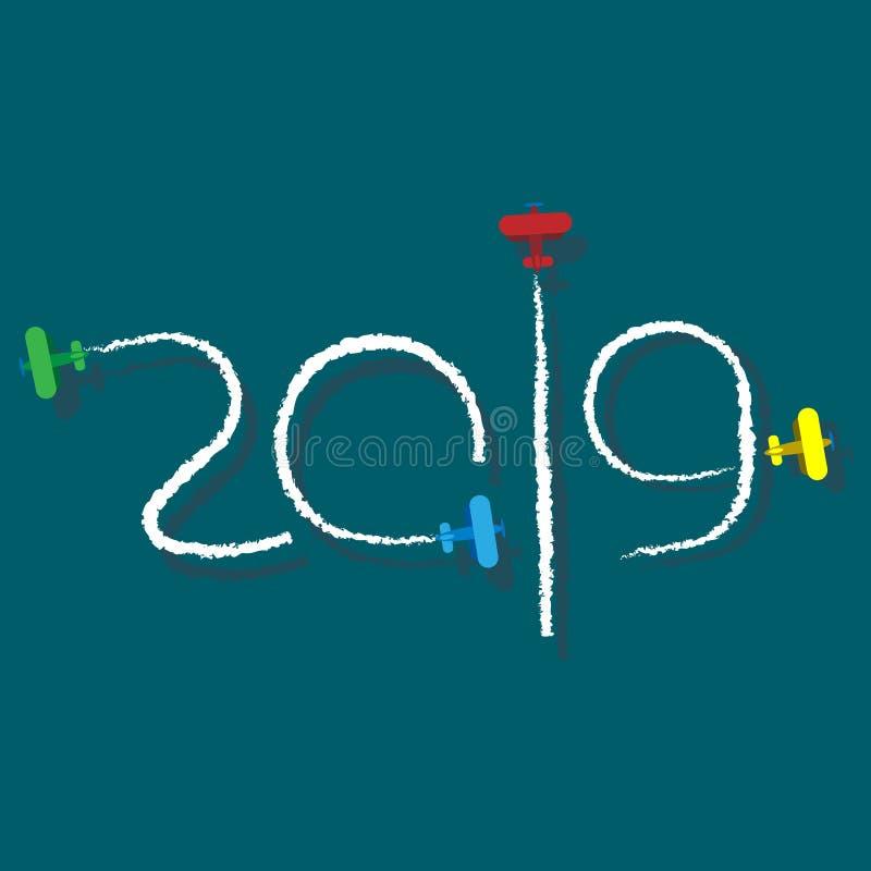 Nieuwjaar 2019 illustratie - beeldverhaalvliegtuigen royalty-vrije illustratie