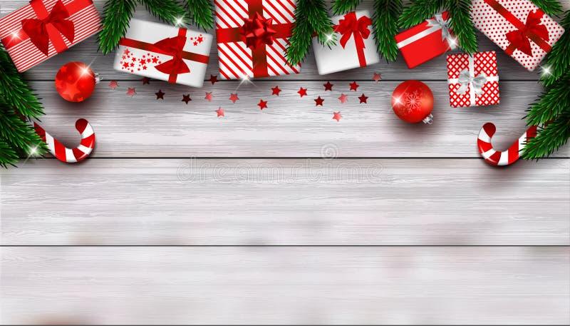 Nieuwjaar of Kerstmis achtergrondsamenstelling met lege ruimte voor tekst royalty-vrije illustratie