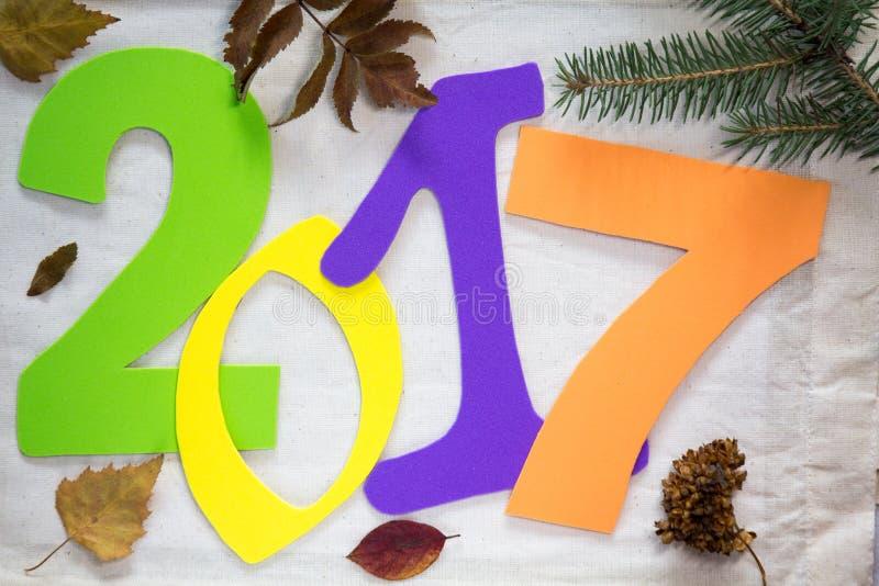2017 nieuwjaar Kleurrijke aantallen op de achtergrond stock foto
