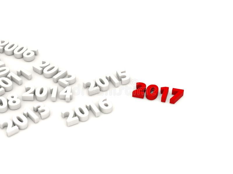 2017 nieuwjaar met andere cijfers royalty-vrije illustratie
