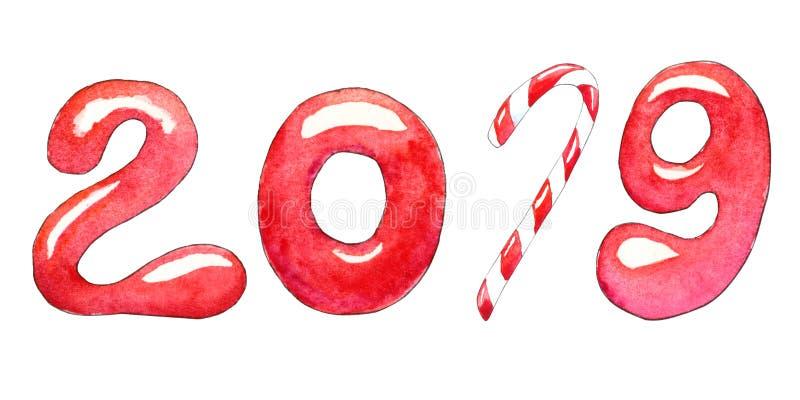 Nieuwjaar 2019 met suikergoed vector illustratie