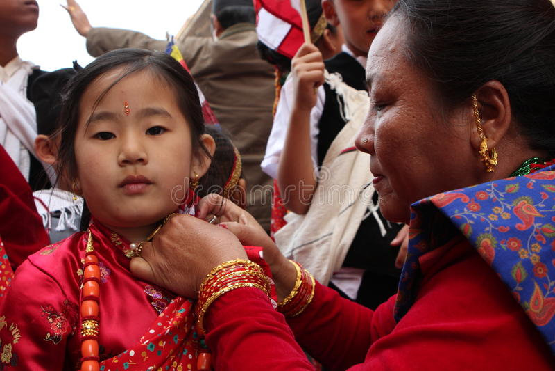Nieuwjaar in Nepal stock afbeelding