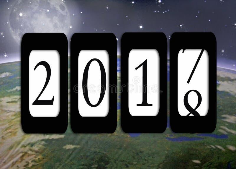 Nieuwjaar 2018 odometer en aarde vector illustratie