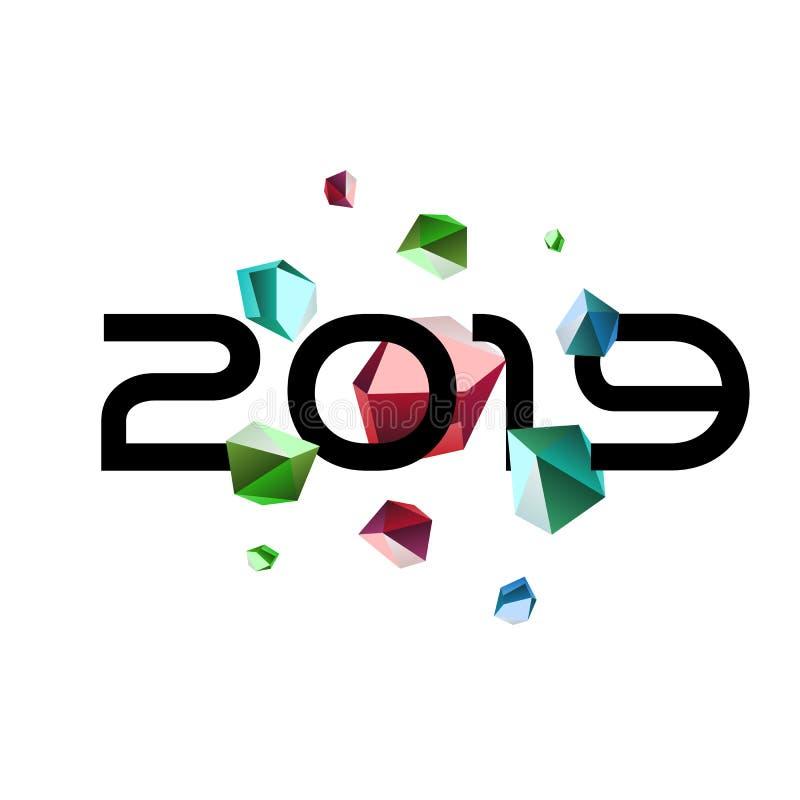 Nieuwjaar onder meteoordouche van gem-besnoeiing stenen Ongebruikelijk embleemontwerp voor het verfraaien van een Nieuwjaarskaart vector illustratie
