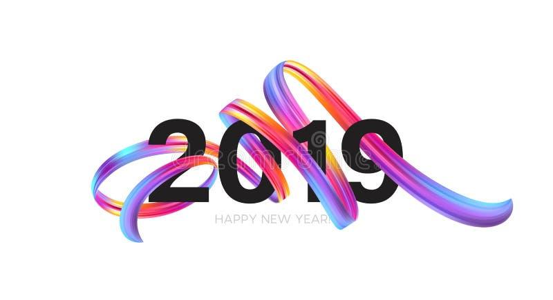 2019 nieuwjaar op de achtergrond van een kleurrijke penseelstreekolie of een acrylelement van het verfontwerp Vector illustratie royalty-vrije illustratie