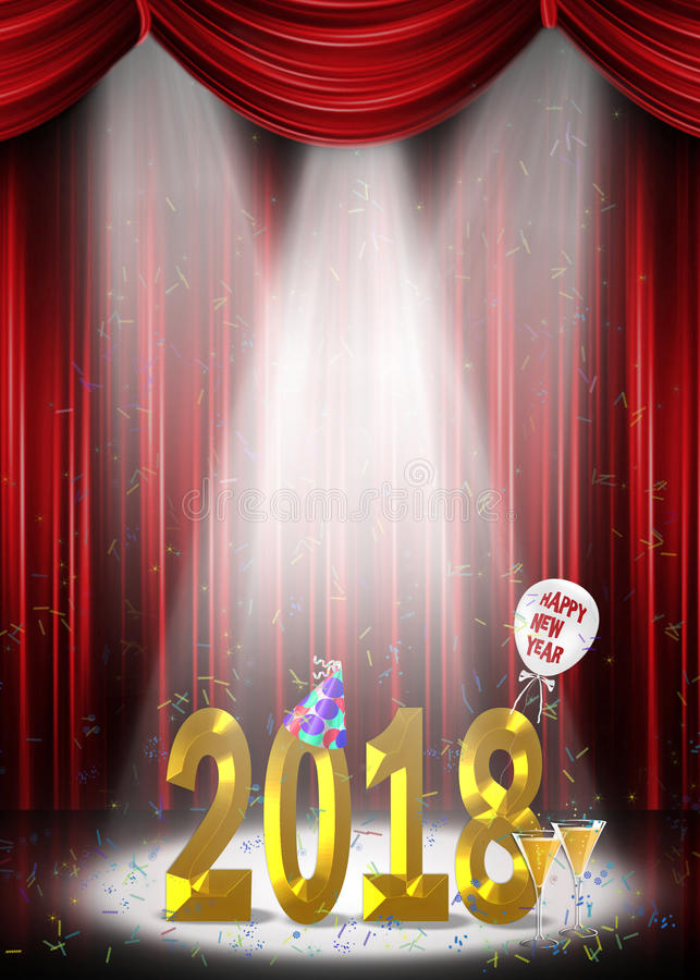 Nieuwjaar 2018 op stadium in schijnwerper stock illustratie