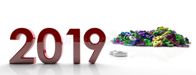 2019 nieuwjaar Rode 2019 cijfers en kleurrijke aantallenhoop op witte achtergrond, banner 3D Illustratie stock illustratie