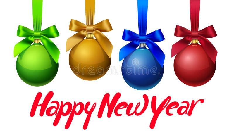 Nieuwjaar` s achtergrond met vier gekleurd Nieuwjaarspeelgoed vector illustratie