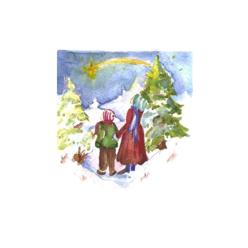 Nieuwjaar ` s en Kerstmis royalty-vrije illustratie