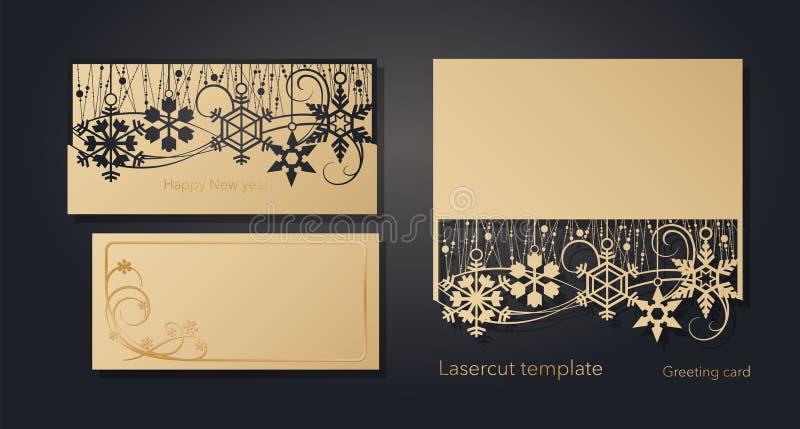 Nieuwjaar ` s en Kerstmis De kaartmalplaatje van de lasergroet, uitnodigingen voor Nieuwjaargebeurtenissen Openwork de winter, sn royalty-vrije illustratie