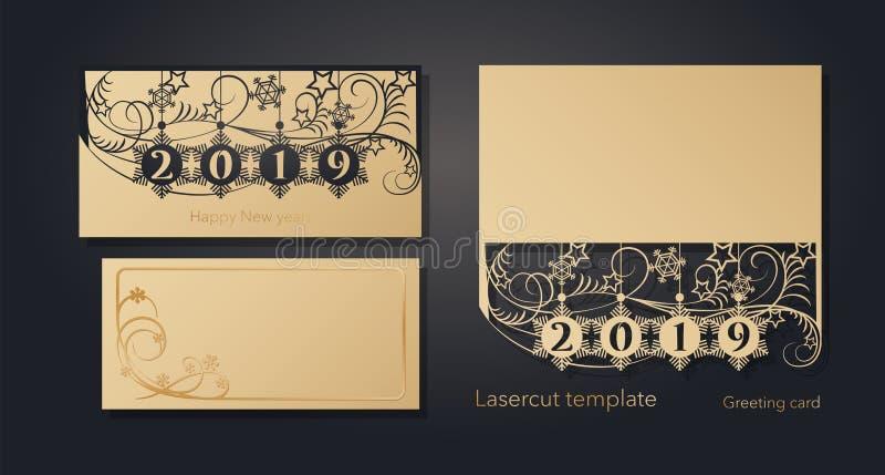 Nieuwjaar ` s en Kerstmis De kaartmalplaatje van de lasergroet, uitnodigingen voor Nieuwjaargebeurtenissen Openwork de winter, sn stock illustratie