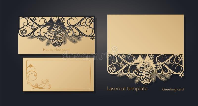 Nieuwjaar ` s en Kerstmis De kaartmalplaatje van de lasergroet, uitnodigingen voor Nieuwjaargebeurtenissen Openwork de winter, sn vector illustratie