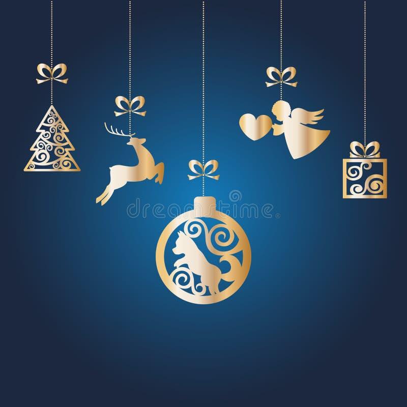 Nieuwjaar` s gouden vectorspeelgoed met de symbolen van het Nieuwjaar Elementen op de boom royalty-vrije illustratie