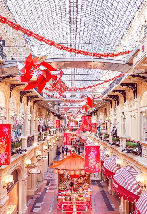 Nieuwjaar` s landschap Rode Lantaarns stock fotografie