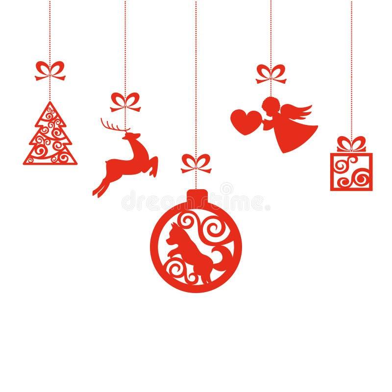 Nieuwjaar` s vectorspeelgoed op draden op wit geïsoleerde achtergrond Elementen op de boom royalty-vrije illustratie