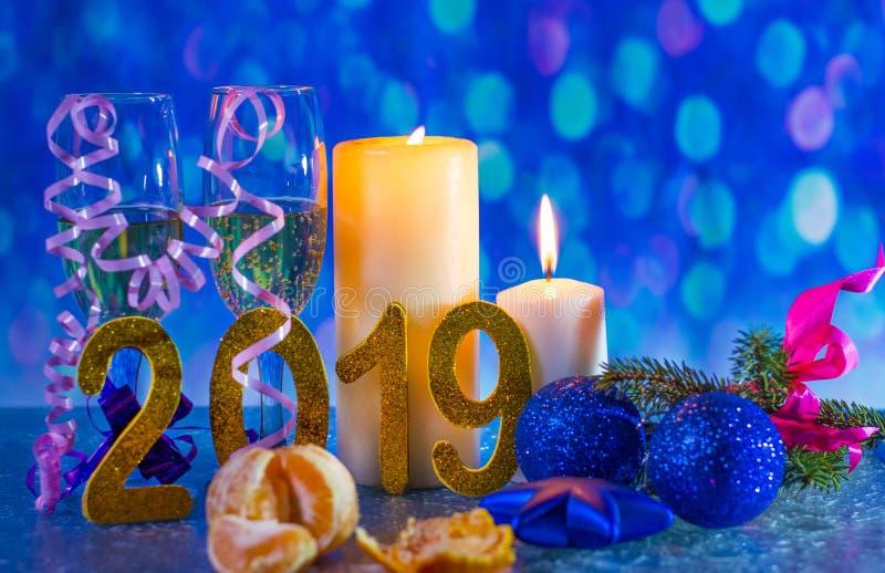 Nieuwjaar` s Vooravond 2019 stock foto's