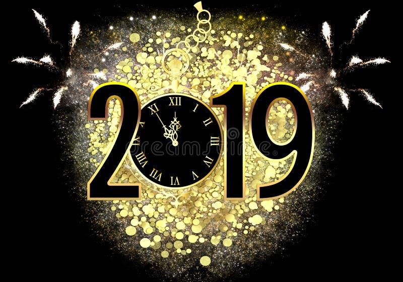 Nieuwjaar` s Vooravond 2019 royalty-vrije illustratie