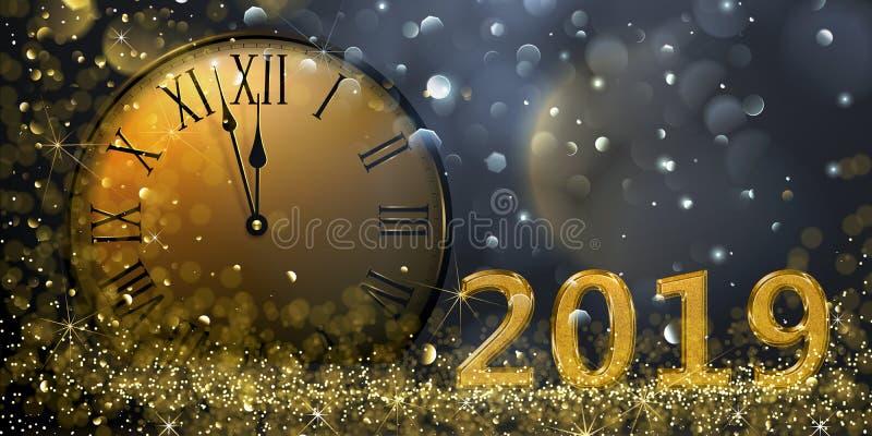 Nieuwjaar` s Vooravond 2019 vector illustratie