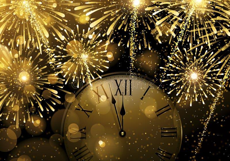 Nieuwjaar` s Vooravond Explosie van vuurwerk en middernacht stock illustratie
