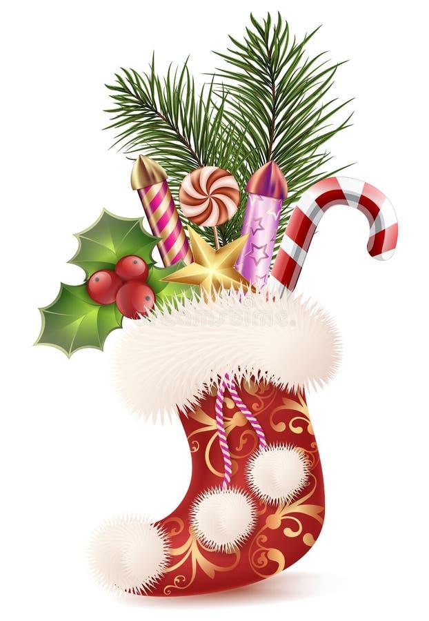 Nieuwjaar` s zak van laarzen met giften, sparren, raketten, maretak en suikergoedillustratie royalty-vrije illustratie