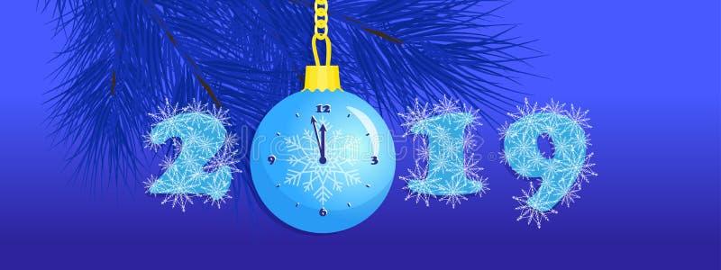 Nieuwjaar 2019, sneeuwvlokken in aantallen, de klok van de Kerstmisbal stock illustratie